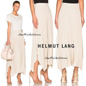 Helmut Lang NWT oyster pleated silk crepe skirt